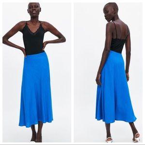 NWT. Zara Blue A-line Linen Blend Skirt. Size S.
